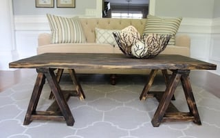 Sawhorse console coffee table