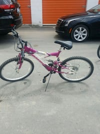 pink and white full-suspension bike Troy, 48083