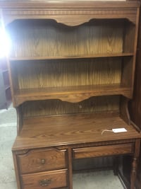 brown wooden single pedestal desk with hutch Opelousas, 70570