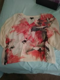 white and red floral long-sleeved shirt New York, 10019