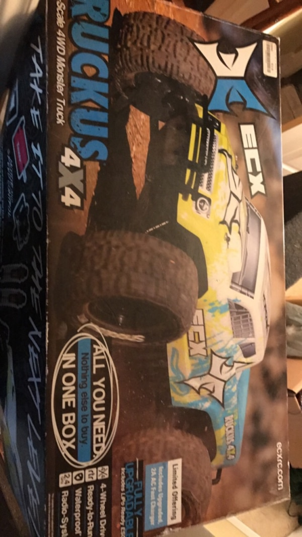 yellow ECX monster truck toy box