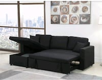 LINEN PULL OUT SECTIONAL SOFA
