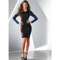 women's black and blue long-sleeves midi dress