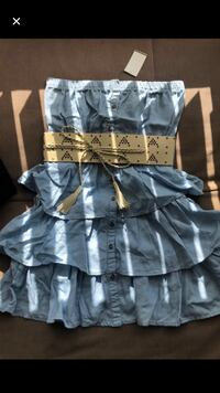 Blue frilly dress with belt