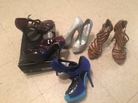 two pairs of black and blue leather heeled sandals Brownsville, 78520