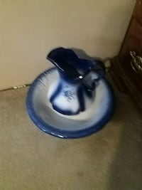 white-and-blue floral ceramic pitcher and bowl Beverly, 45715