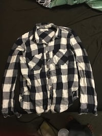 Plaid navy blue and white shirt
