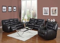 Black Reclining 2PC Sofa Set w/ Console..$1418 * No Credit Financing Available * Only $50 Down Atlanta