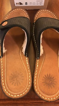 Black-and-brown UGG slide sandals size 8