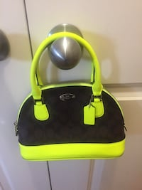 black and yellow leather tote bag