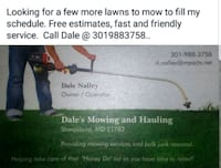 Lawn mowing, Clean up ,Hauling,  Hagerstown