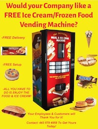Ice cream/Frozen Food Vending Machine for your Job,Company,Business Towson, 21204
