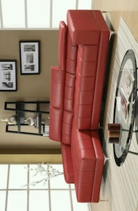 Samuel Red Bonded Leather Sectional  Houston, 77036