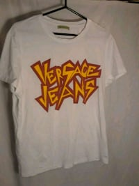 white, brown, and yellow Versace Jeans crew-neck t-shirt