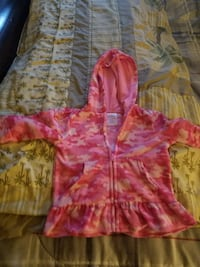 pink and white camouflage zip-up hoodie