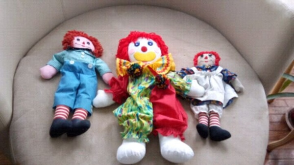 three assorted TY Beanie Baby plush toys