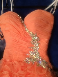 women's orange and silver strapless dress Mont-Royal, H3P 3E9