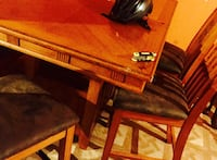Brown wooden bar table w/ 6 chairs  Stafford, 22554