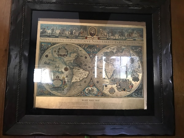 Blaeu World Map.Used Vintage Framed Gold Foil Blaeu Wall Map Of Old And New World