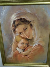 Mother and child portrait painting