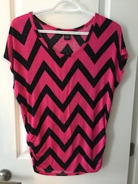 women's pink and black chevron blouse