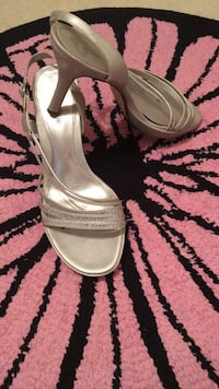pair of gray leather open toe ankle strap heels Fairfax Station, 22039