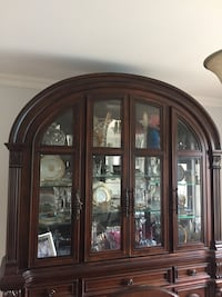 Top hutch display cabinet only solid wood lights up as well mint condition