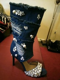 Denim heels with pearls and rhinestones. Size 10. New Orleans