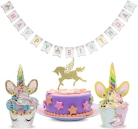 Unicorn Cake Toppers and Wrappers | Rainbow Party Set for Birthday Kearny