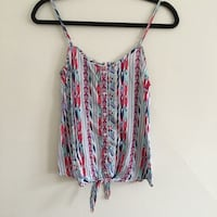 white teal red and purple tribal spaghetti strap top