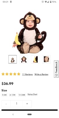 Monkey Halloween costume for Baby San Jose, 95123