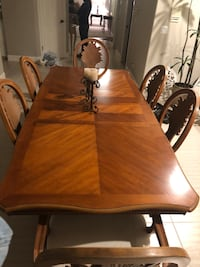 rectangular brown wooden table with six chairs dining set Clayton, 94517