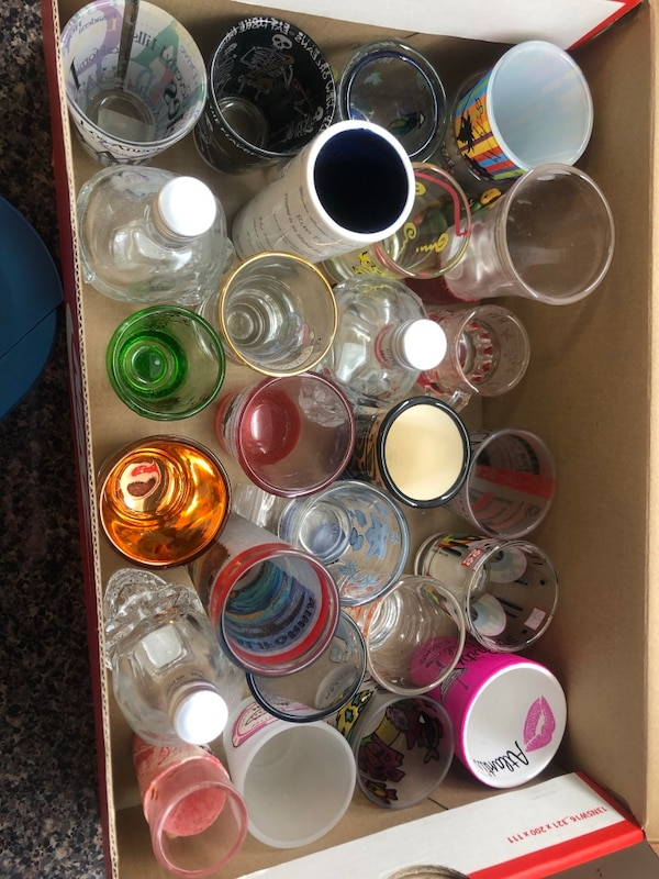 26 shot glasses from all over the world