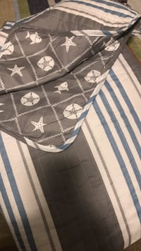 New Grey, Blue and White Coastal King Quilt Set 645 mi