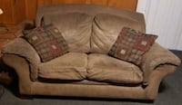 Couch and Loveseat with Covers and 4 Pillows (sm iron burn on couch)