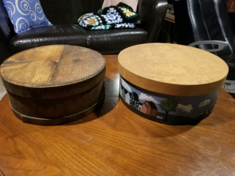 Antique Round Cheese Box with Lid 8