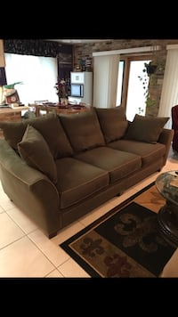 Sofa and Love Seat Set, moving sale, Excellent Condition, Beautiful Green with Tan Trim Microfiber, Stain Guard Protection, cushions are rotatable. Buyer must Pick Up.OBO