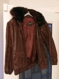 Brown suede jacket with fur collar size M