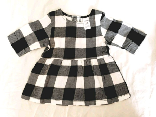 ff8ba080a324 Used Carters 12 month white and black plaid dress for sale in Naperville -  letgo