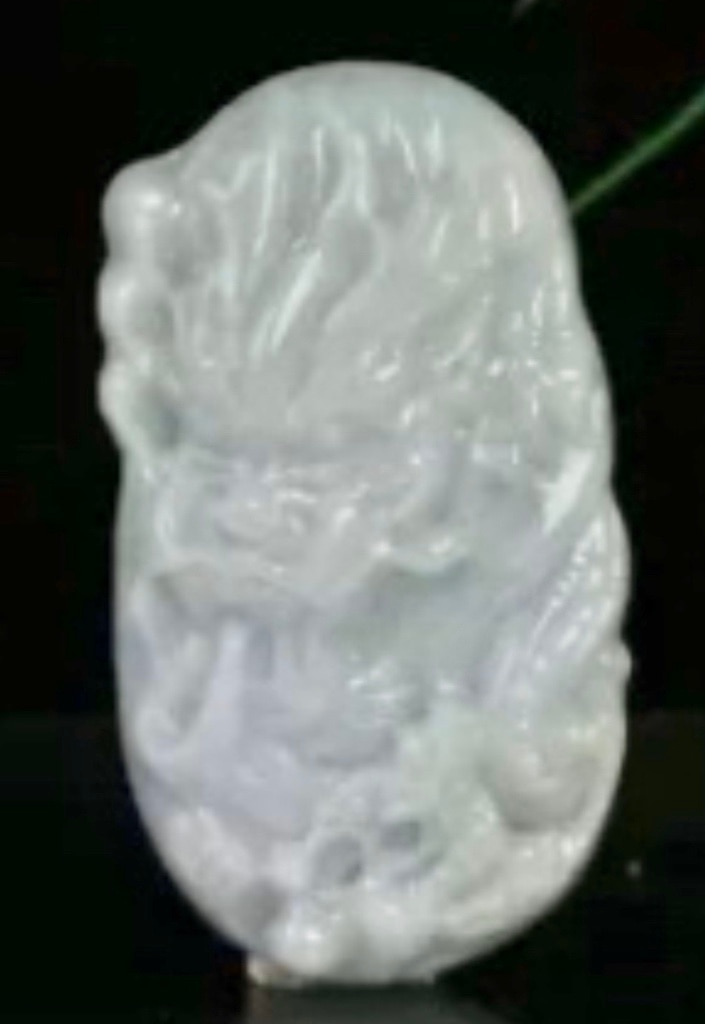 Photo CERTD UNTREATED NATURAL LIGHT GREEN GRADE AJADE JADEITE CARVED DRAGON