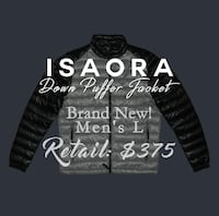 NEW! $380 - ISAORA - Down Jacket men's L Black Grey
