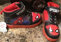 Spiderman toddler's/boy's black, red, blue, & gray high cut shoes- brand new with tag, lights up Calgary, T2J