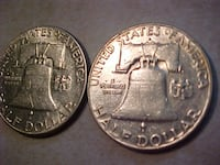 USA Silver Bell Halves 1949 & 1957d LONDON