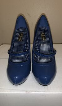 Pin Up Couture Navy Blue Mary Janes Size 8