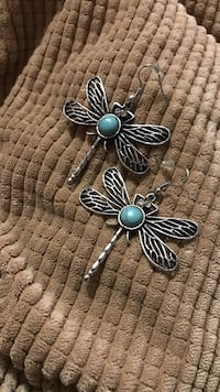 silver-colored blue stone butterfly earrings Los Angeles, 91402