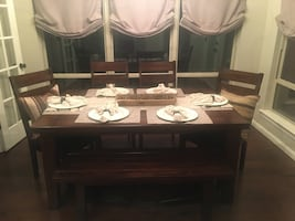 Table, bench, and chairs