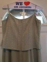 Size 14 pale green mother of the bride dress w beaded top and jacket.  Dry cleaned 11/10/2018.  Excellent condition.