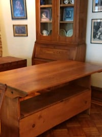Old pine table/ bench. Great for small apt.