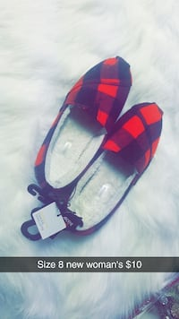 pair of red-and-black plaid print flats