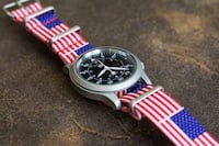 Seiko snx series round silver chronograph watch with United States flag. 4th of July promotion. Fairfax, 22031